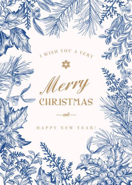 ilustraciones, imágenes clip art, dibujos animados e iconos de stock de felicitación de navidad en estilo vintage. - marcos de festividades y de temporada