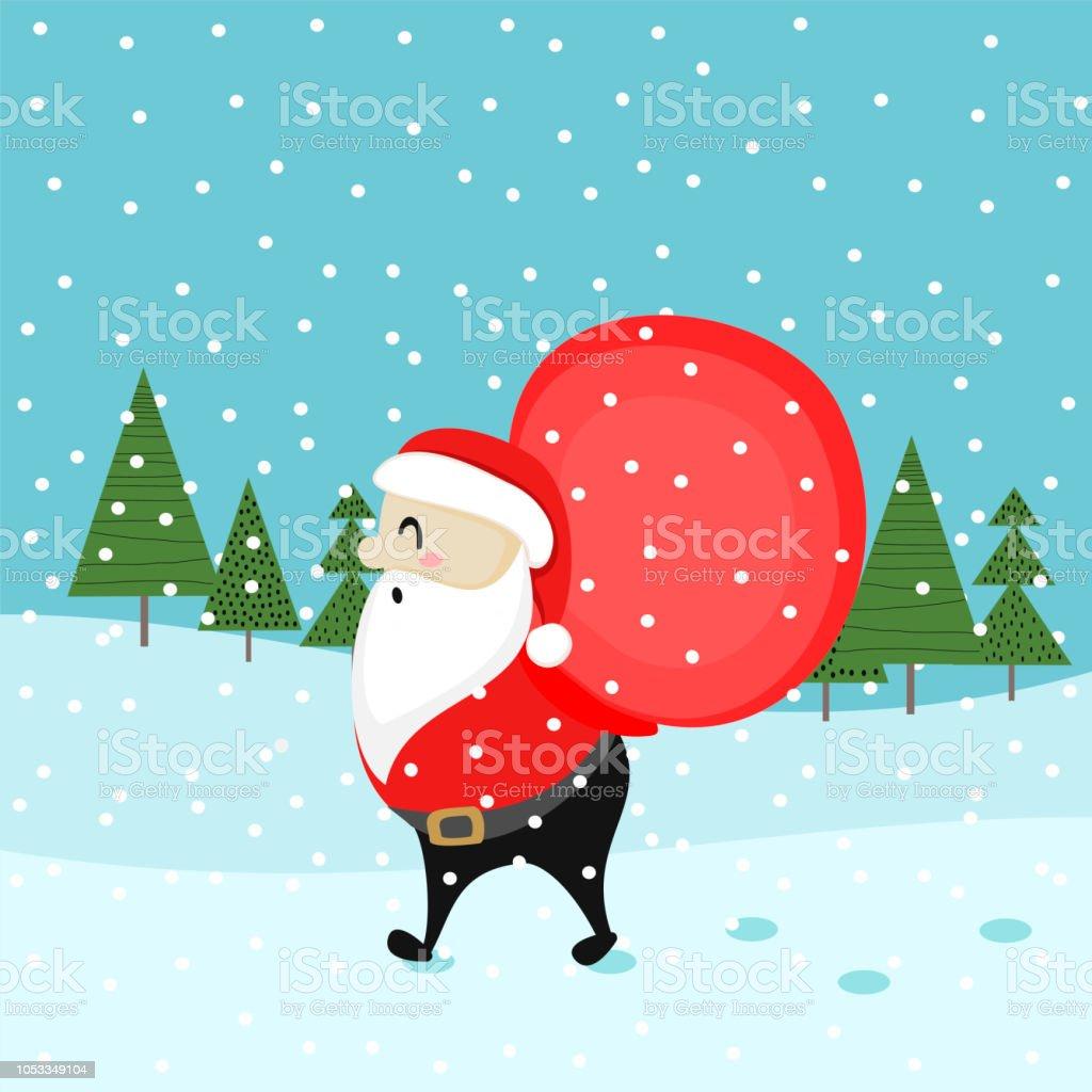 Greeting Christmas Card With Cute Santa Claus Stock Vector Art ...