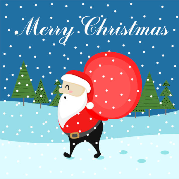 greeting christmas card with cute santa claus vector art illustration - African Christmas