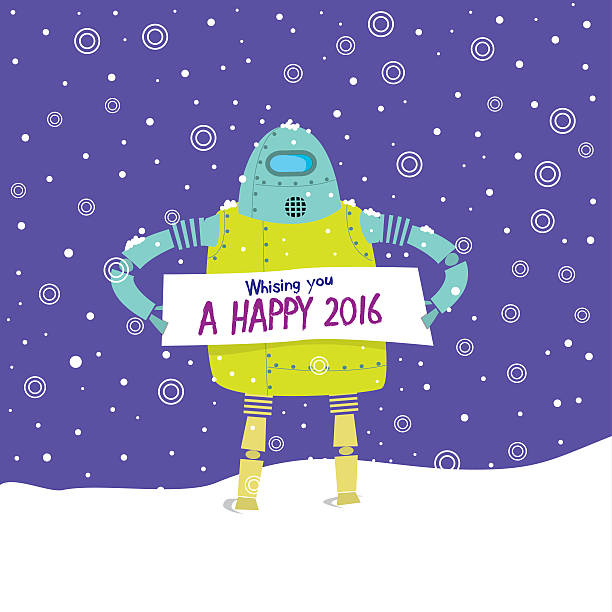 Greeting Christmas Card with Cute Vintage Robot vector art illustration