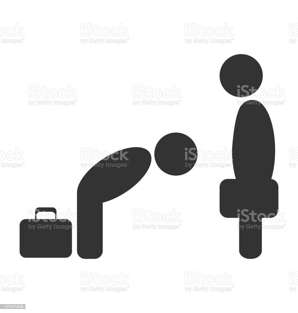 挨拶のエチケットビジネスの状況アイコン白で分離 ベクターアートイラスト