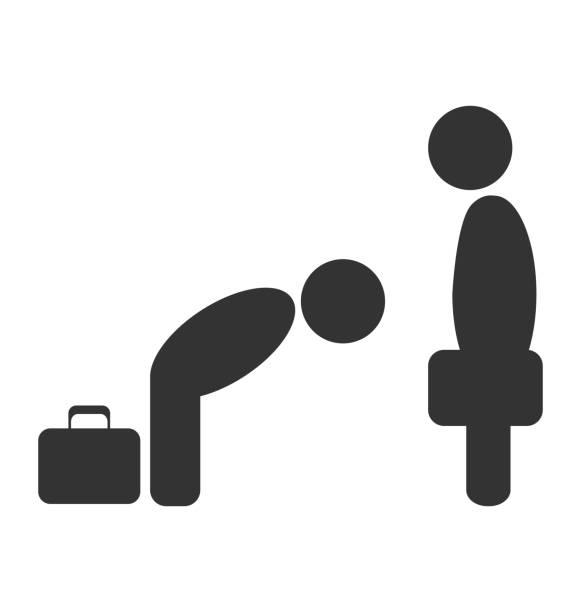 挨拶のエチケットビジネスの状況アイコン白で分離 - お礼点のイラスト素材/クリップアート素材/マンガ素材/アイコン素材