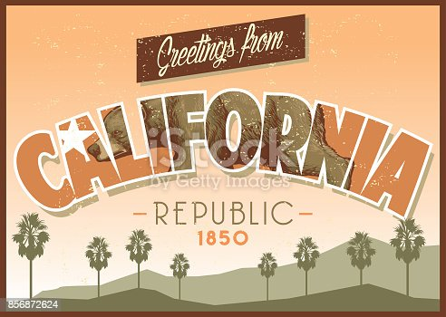 vector of greeting from california in dirty texture