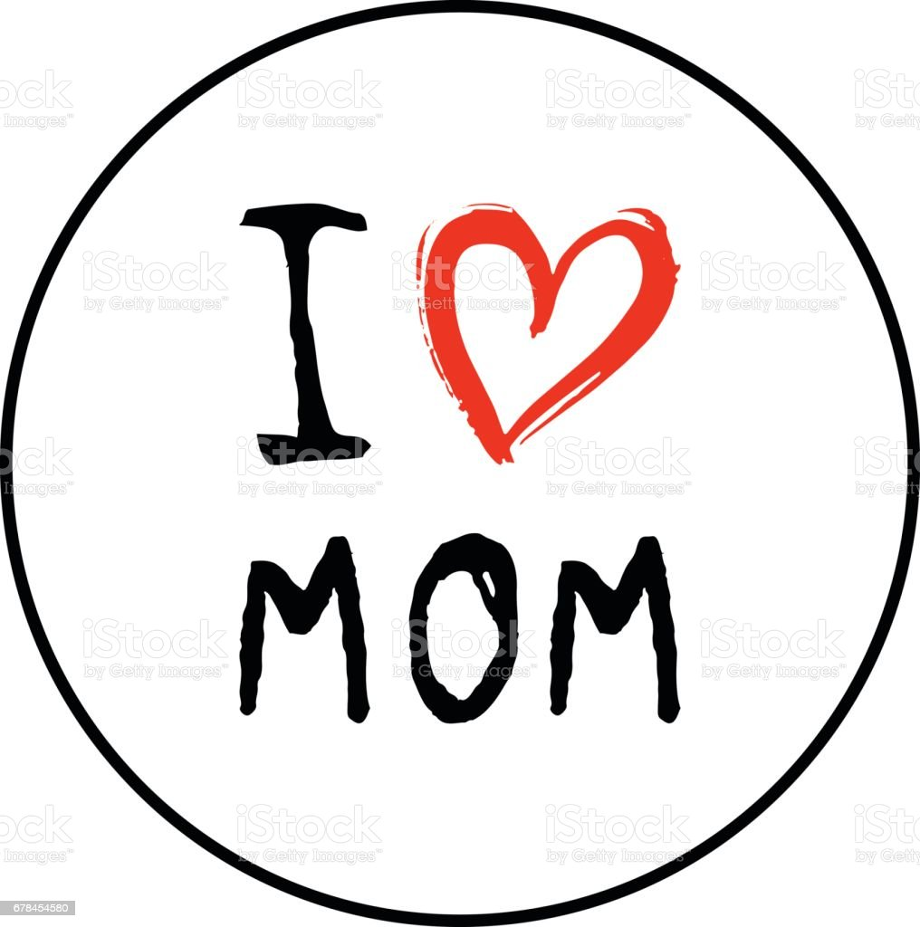 Greeting I love you Mom phrase with a heart. royalty-free greeting i love you mom phrase with a heart stock vector art & more images of abstract