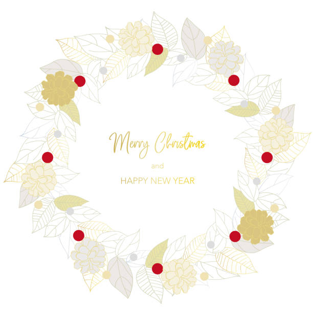 Greeting illustration of a wreath of gold and silver leaves. vector art illustration