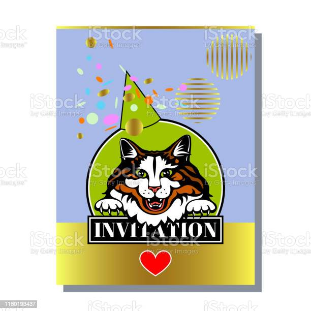 Greeting invitation card template design with cute cats design for vector id1180193437?b=1&k=6&m=1180193437&s=612x612&h=ypkwyu8yrbtsno wdlp8e2daog1tdhgliub5bblrbqm=