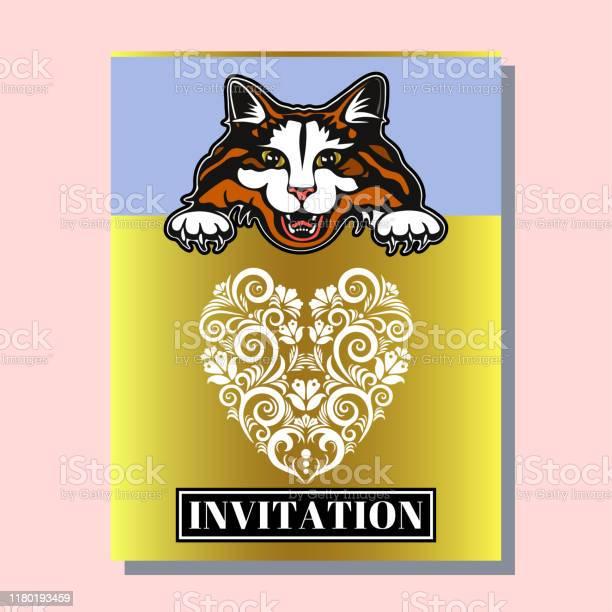 Greeting invitation card template design with cute cats design for vector id1180193459?b=1&k=6&m=1180193459&s=612x612&h=7sequkpa9zrcduu4dh6 odlsqj myg3urpgqk 6n y4=