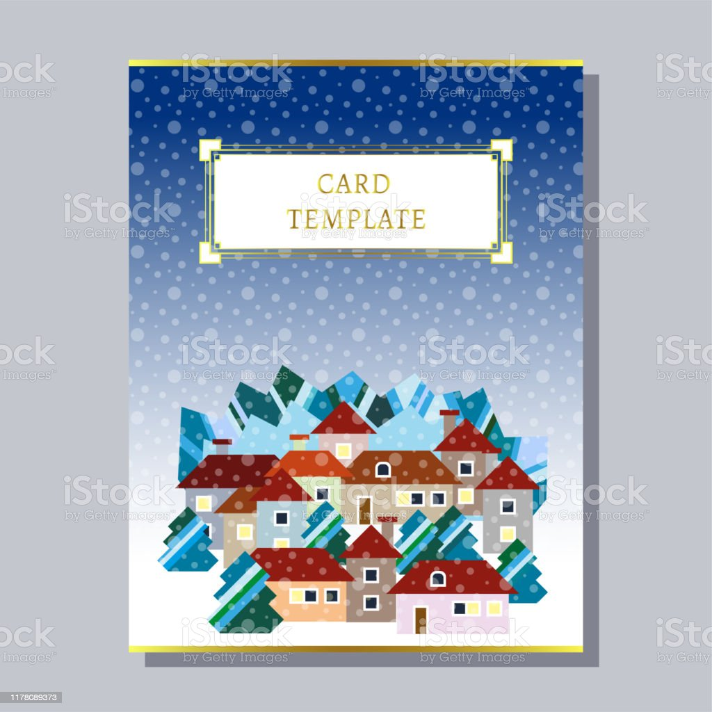 Greeting Invitation Card Template Design With Winter Houses