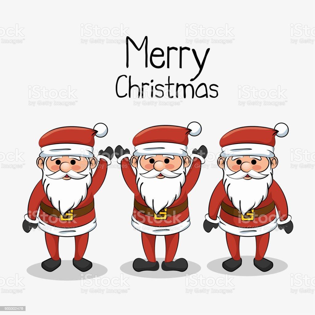 Lustig Frohe Weihnachten.Frohe Weihnachten Gruss Set Weihnachtsmann Lustig Stock