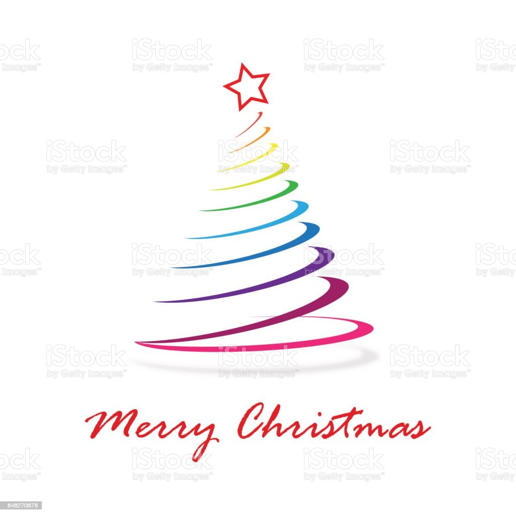 Colorful Christmas Tree Vector.Greeting Of Christmas Abstract Colorful Christmas Tree Stock