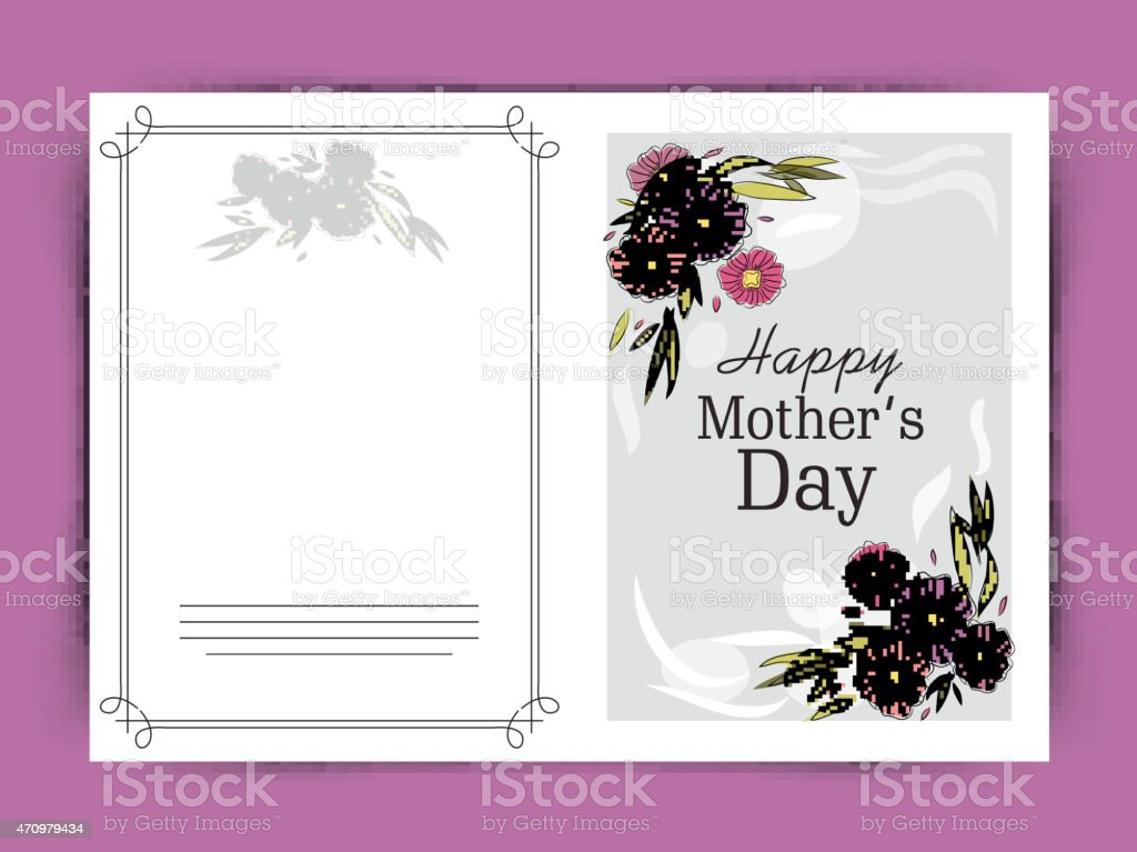 Greeting Or Invitation Card For Happy Mothers Day stock vector art – Mothers Day Invitation Cards