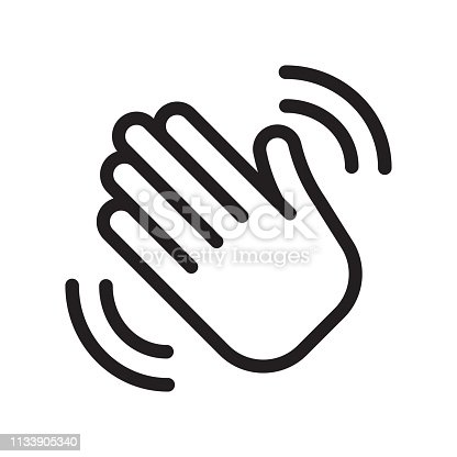 Hand waving icon. Greeting sign. Hello symbol. Gesture vector illustration