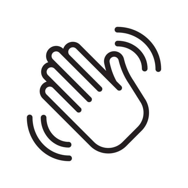 stockillustraties, clipart, cartoons en iconen met welkomst teken. hello symbool. - hands