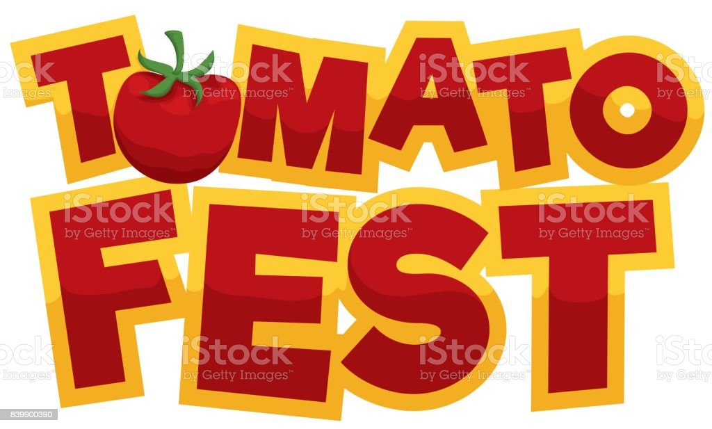 Banner with a fresh tomato, a red and golden greeting sign for Tomato...