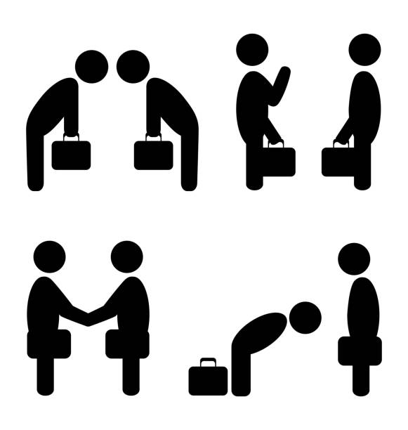 greeting situation icons vector art illustration