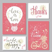 Greeting valentines day cards set. Wedding invitation design with hand drawn text - vector artwork
