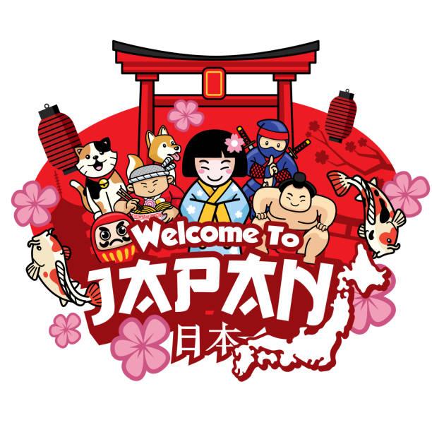bildbanksillustrationer, clip art samt tecknat material och ikoner med hälsning välkommen till japan med söt stil tecknad - japanskt ursprung