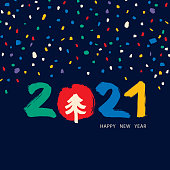 Vibrant Happy New Year 2021 greeting card with hand drawn brush stroke elements; 2021 lettering, pine tree and confetti.