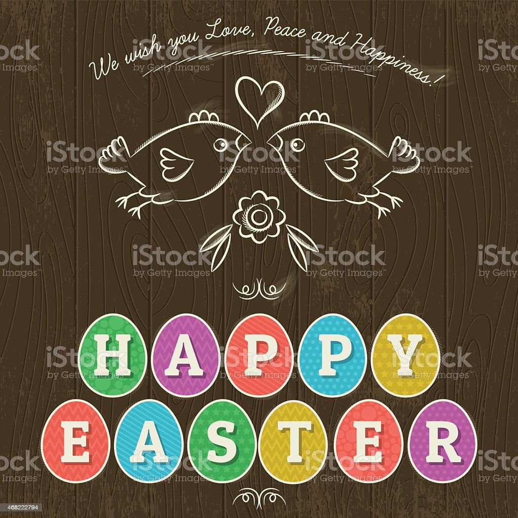 Greetings Card For Easter Day With Eleven Colored Eggs Stock Vector