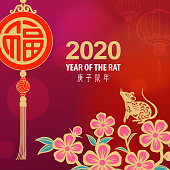 Celebrate the Year of the Rat 2020 with Chinese good luck pendant, flowers and gold colored rat on the red lanterns background, the Chinese phrase means Year of the Rat according to Chinese calendar