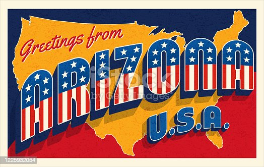 Greetings from Arizona USA. Retro style postcard with patriotic stars and stripes lettering and United States map in the background. Vector illustration.