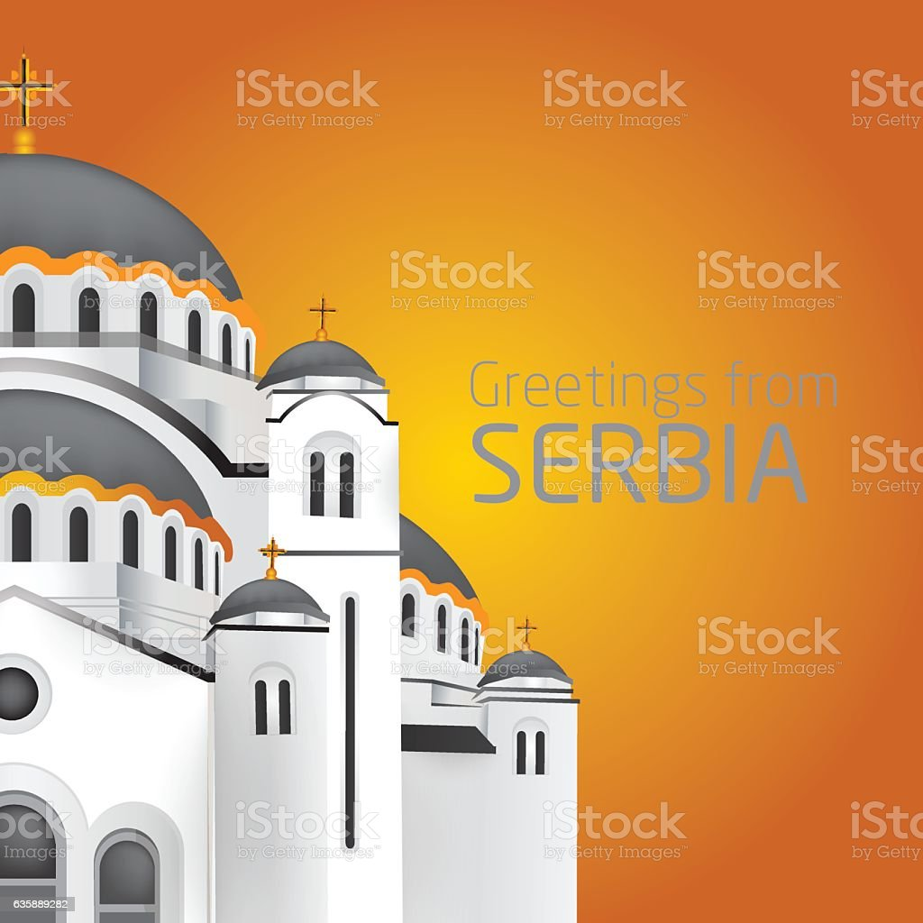 Greetings from Belgrade. Orthodox church Saint Sveti Sava Belgrade. vector art illustration