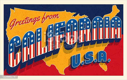 Greetings from California USA. Retro style postcard with patriotic stars and stripes lettering and United States map in the background. Vector illustration.