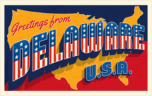 Greetings from Delaware USA. Retro style postcard with patriotic stars and stripes