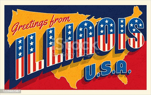 Greetings from Illinois, USA. Retro style postcard with patriotic stars and stripes lettering and United States map in the background. Vector illustration.