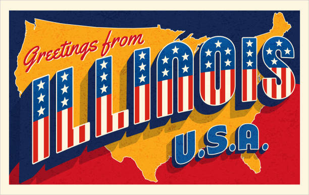 Greetings from Illinois, USA. Retro style postcard with patriotic stars and stripes vector art illustration