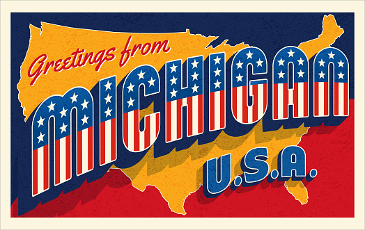 Greetings from Michigan USA. Retro postcard with patriotic stars and stripes