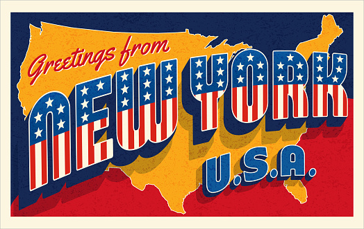 Greetings from New York USA. Retro postcard with patriotic stars and stripes