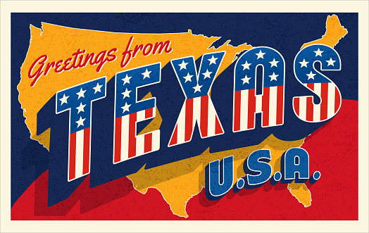 Greetings from Texas USA. Retro postcard with patriotic stars and stripes lettering and United States map in the background. Vector illustration.