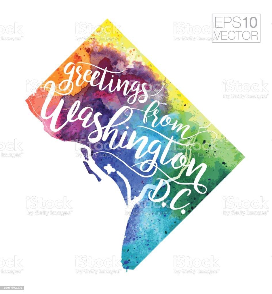 Greetings from washington dc vector watercolor map stock vector art greetings from washington dc vector watercolor map royalty free greetings from washington dc vector m4hsunfo