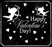 greetings with Valentine's day with white cupids and hearts, on black background, vintage style