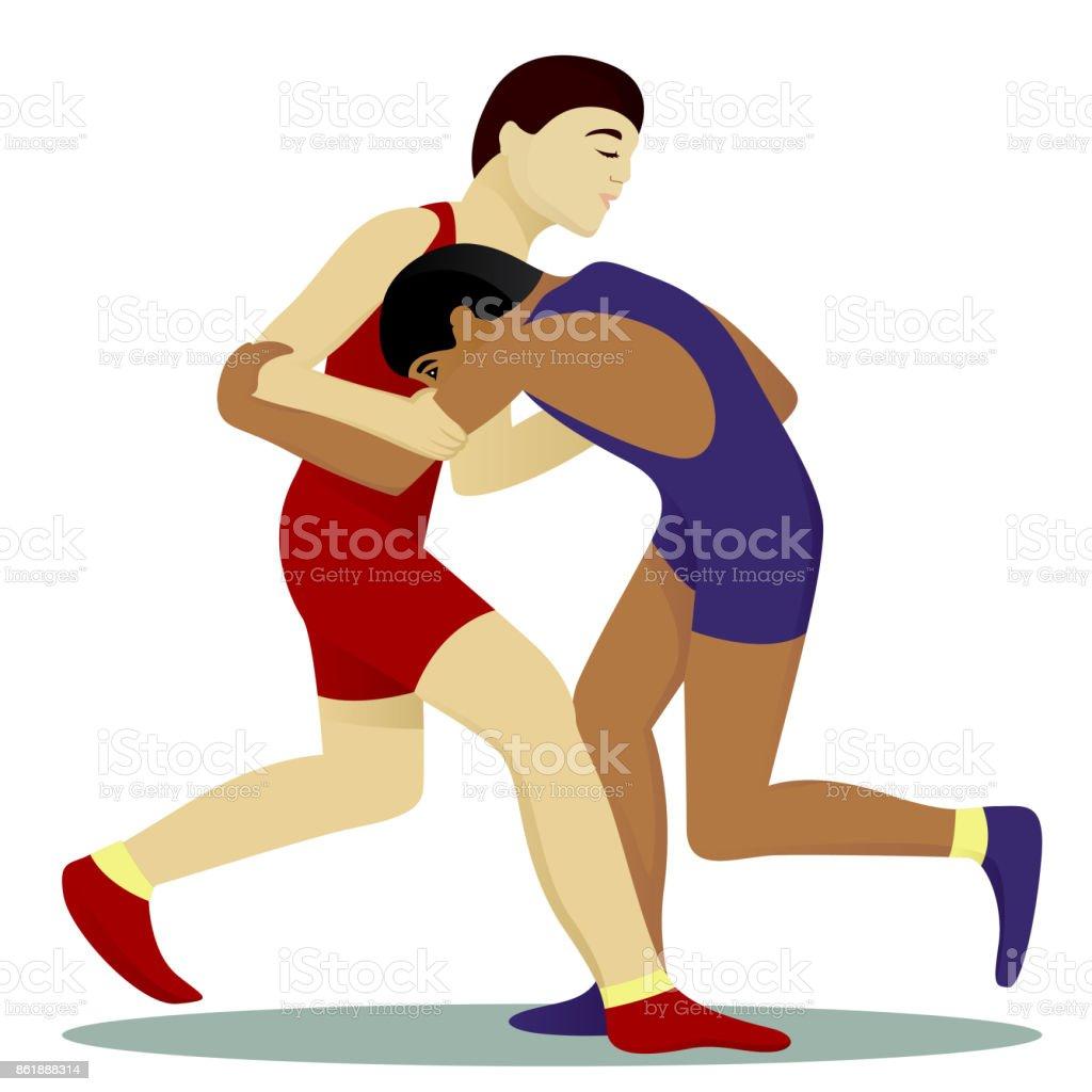 Greko-roman wrestling vector art illustration