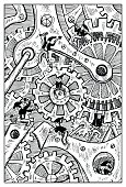 Gremlins or dwarfs breaking clock mechanism. Fantasy magic creatures collection. Hand drawn vector illustration. Engraved line art drawing, graphic mythical doodle. Template for card game, poster