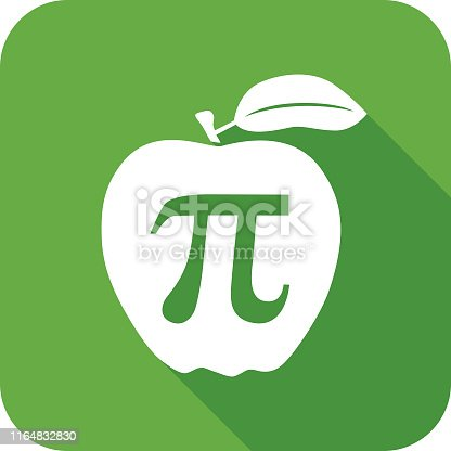 Vector illustration of an apple with a Pi symbol on it.
