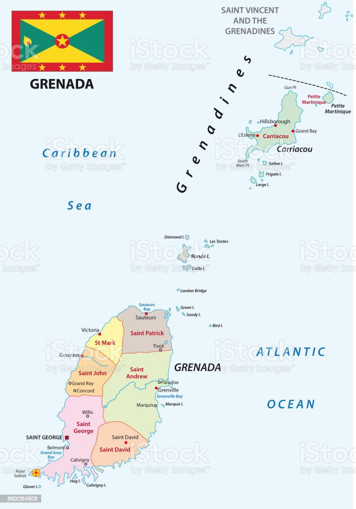 Grenada Administrative And Political Map With Flag Stock Vector Art ...