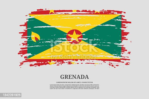istock Grenada flag with brush stroke effect and information text poster, vector 1342261925