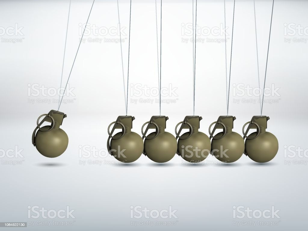 Grenade - high explosive - Newtons cradle vector art illustration