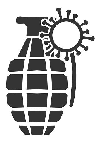 Grenade Icon with Coronavirus Pin