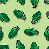 Vector illustration of grenades in a repeating pattern against a light green background.