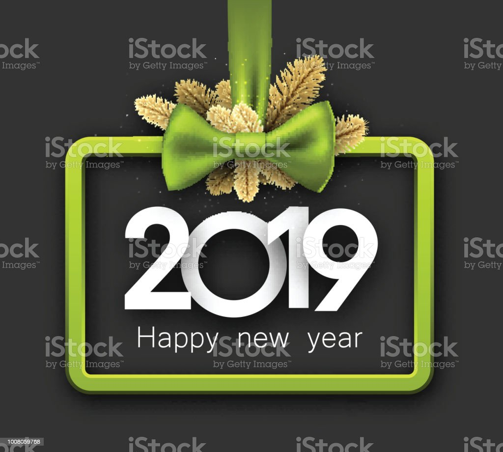 grey 2019 happy new year background with green frame and bow royalty free grey