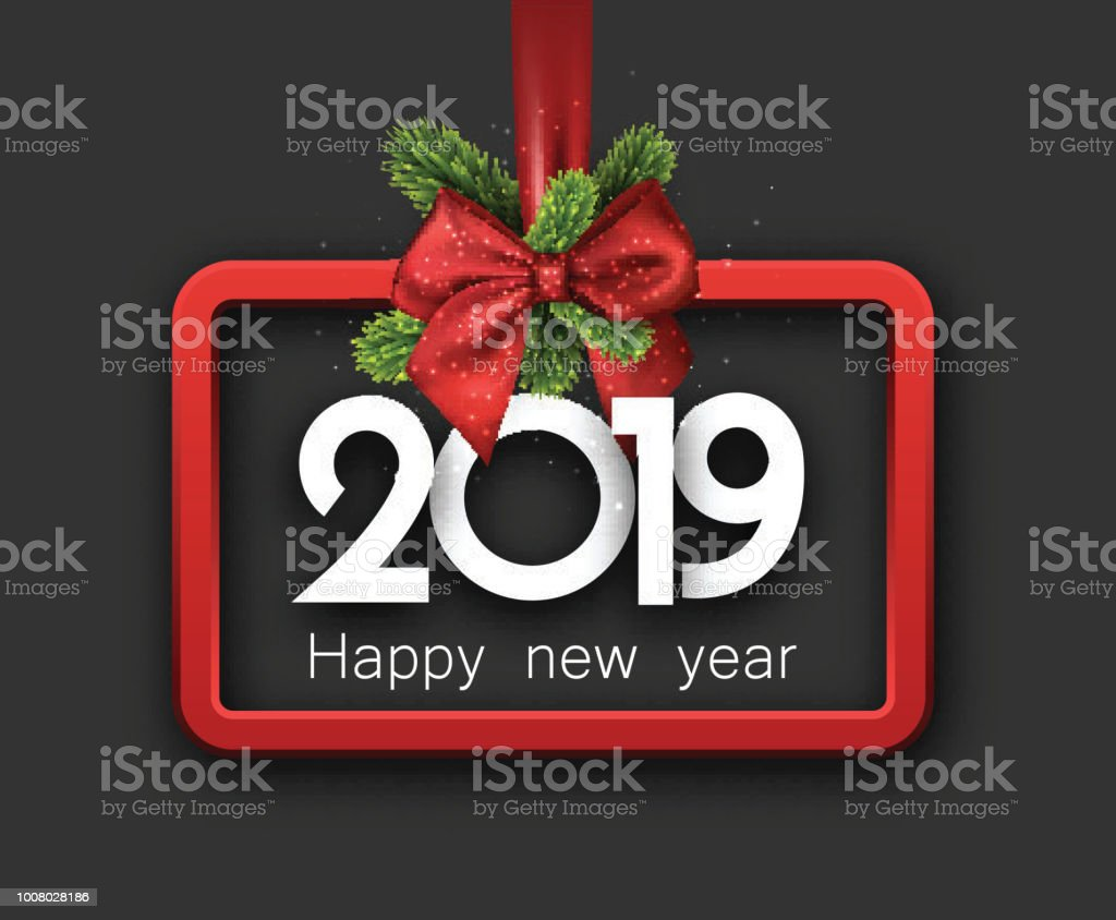 grey 2019 happy new year background with red frame and bow royalty free grey