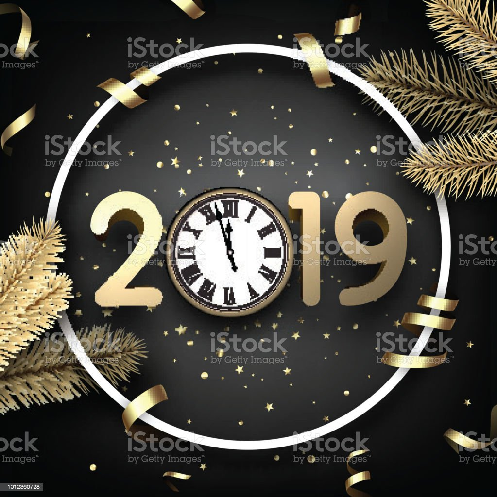 grey 2019 happy new year card with gold clock and fir royalty free grey