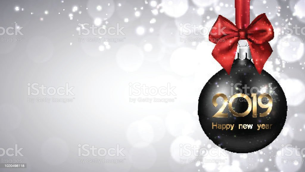 grey 2019 new year background with black christmas ball royalty free grey 2019 new