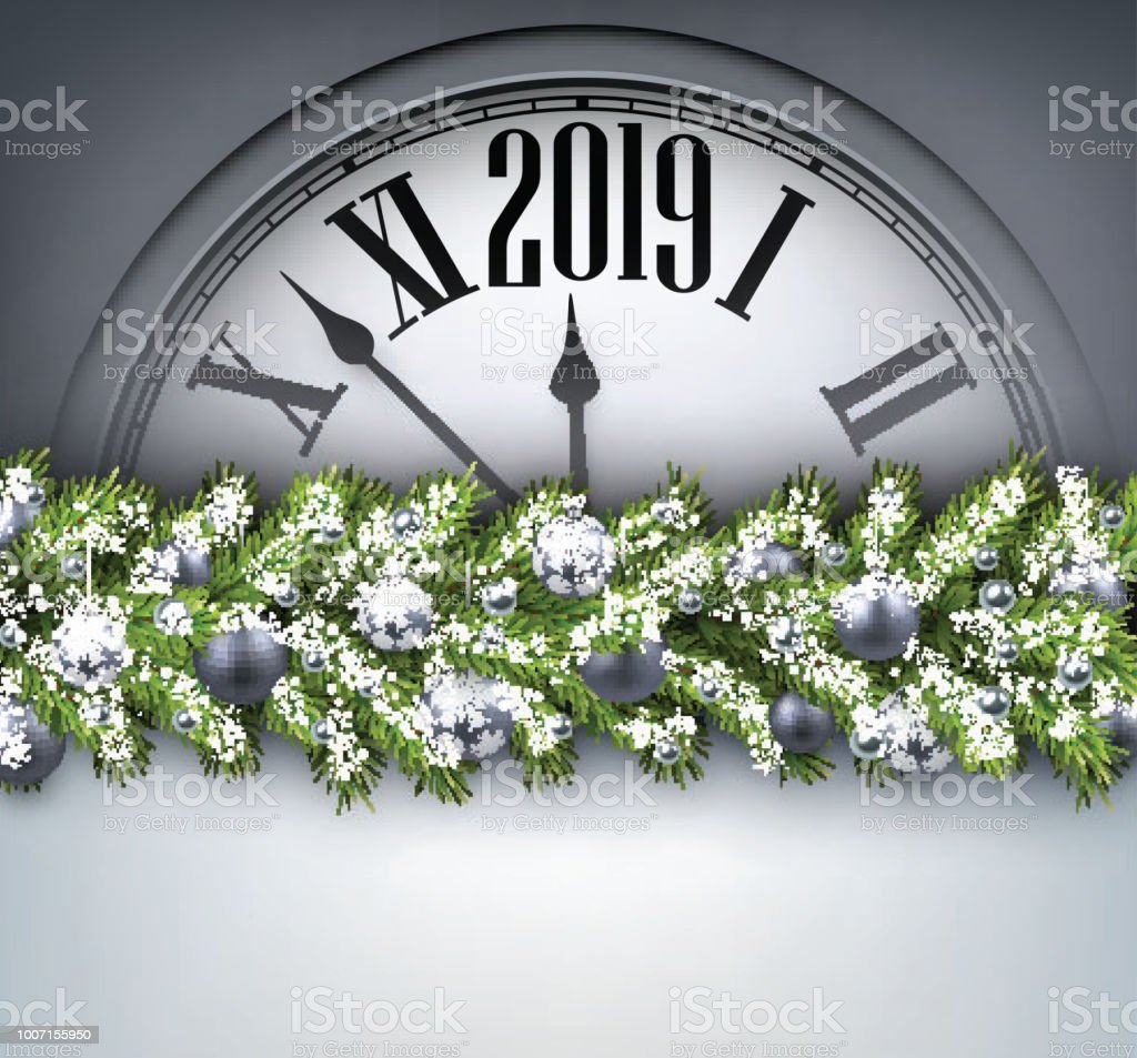 grey 2019 new year background with clock greeting card royalty free grey 2019