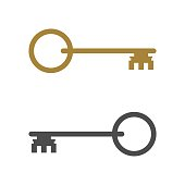 Grey and Gold Classic Key Icon Vector Logo Template Illustration Design. Vector EPS 10.