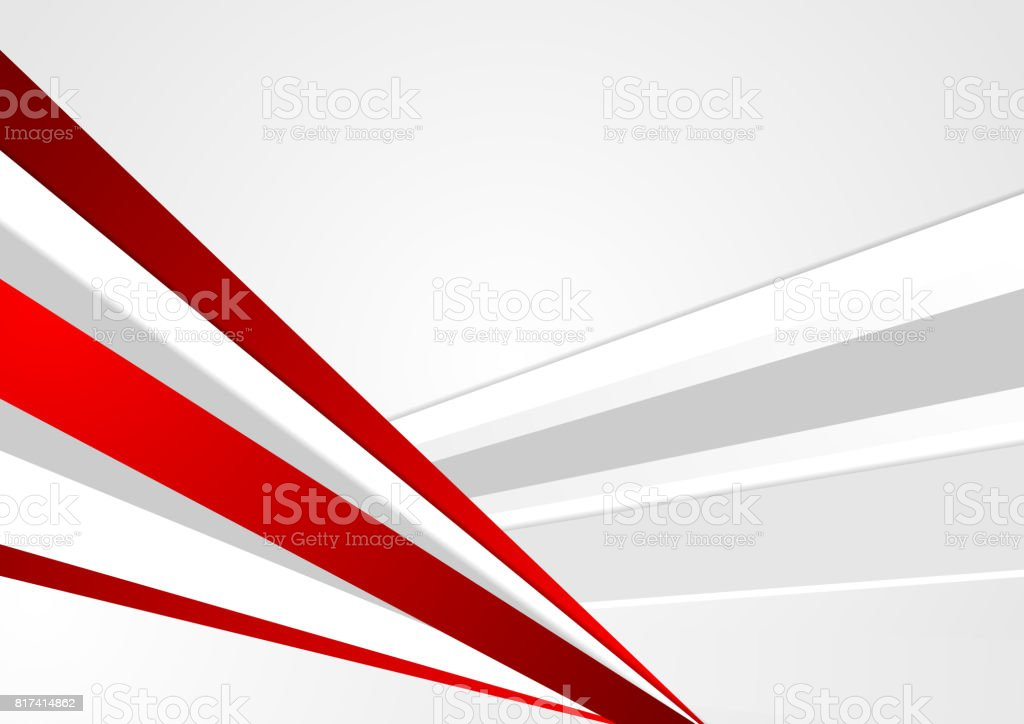 Grey and red corporate abstract stripes background vector art illustration